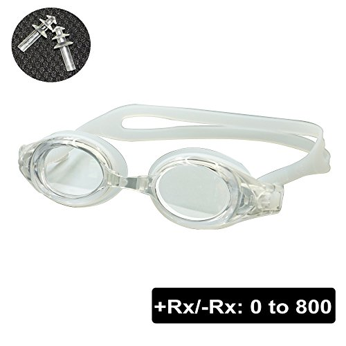 EnzoDate optische Brille Hyperopie RX + 1 bis + 8 Myopie - 1 bis-8 Erwachsene Kinder unterschiedliche Stärken für jedes Auge Schwimmen (Kraft: -300, Transparent)