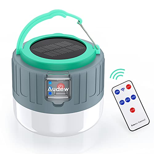 Audew LED Solar Camping Lantern Rechargeable, 5 Light Models 3600mAh Power Bank With USB Phone...