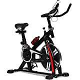 Exercise Bike Recumbent Spin Cycling Bike Indoor Cycle Stationary Workout Equipment with Pulse W/LCD Display and Adjustable Foot for Home Office (Black)