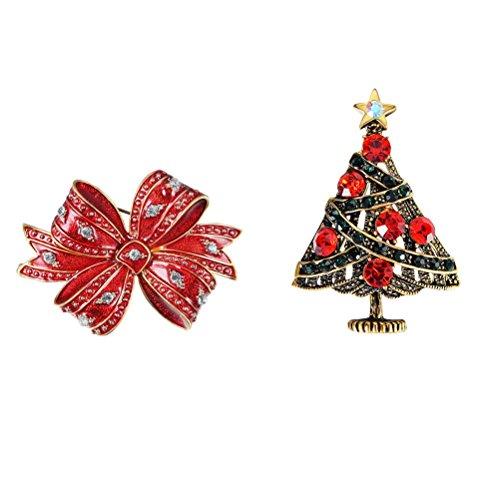 Oulii Kerstboom broche met kristallen vakantie, cadeaubroche voor truien, jurk, sjaal, kerstdecoratie