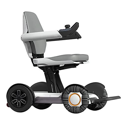 HYRL Sillón de Ruedas eléctrico Plegable de Lujo Choque de Seguridad Patinete de Robot pequeño y Ligero de Moda con Controlador Inteligente para Ancianos y discapacitados