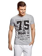 oodji Ultra Hombre Camiseta con Estampado Urbano y Dibujo