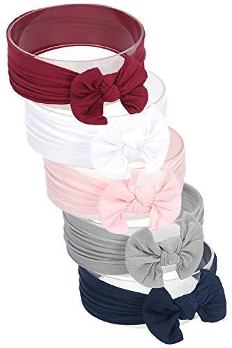 Hocaies Vendas del bebé Hairband de los bebés recién Nacidos Diademas de bebé anchas con lazo Diadema Elástica Niñas Banda Para Cabeza Bebe Accesorio Bebe Niñas Recien Nacida (5 Piezas - I)