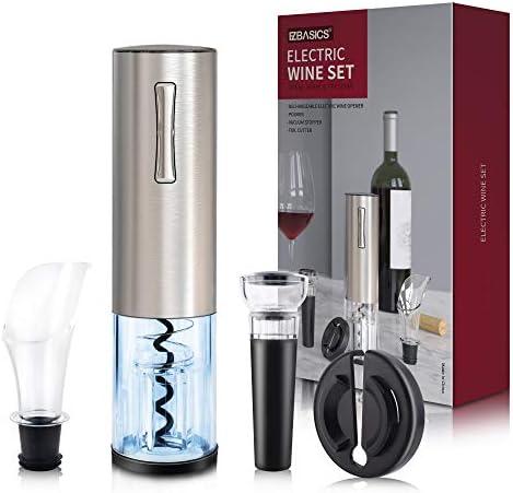 EZBASICS Electric Wine Bottle Opener kit Rechargeable Automatic Corkscrew contains Foil Cutter product image
