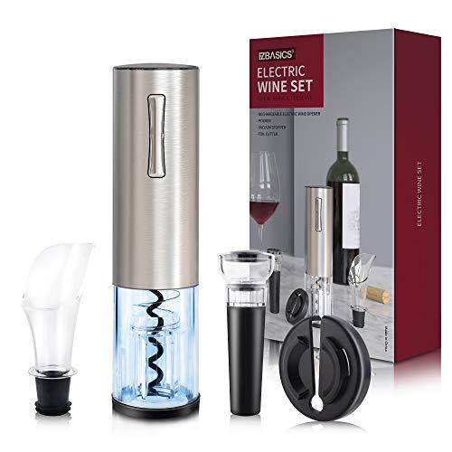 EZBASICS Kit de abridor de botellas de vino eléctrico, sacacorchos automático recargable que contiene cortador de papel de aluminio y aireador de vino vertedor con cable de carga USB para los amantes del vino, set de regalo 4 en 1