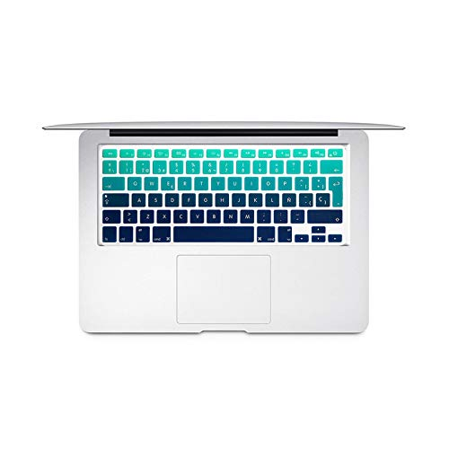 Spanish Colorful keyboard Protective Film For Mac Book pro 13air 15 Retina A1466 A1502A1398A1278 EU Silicone Keyboard Cover Skin-Gradient green