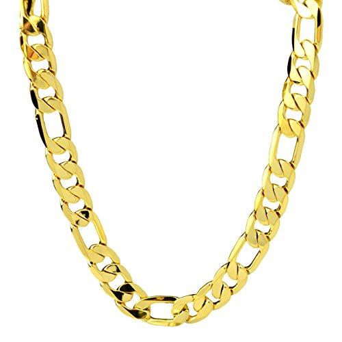 """loyoe joyas 24K amarillo bañados en oro para hombre collar Figaro enlace Cadena 95G (24""""12mm)"""