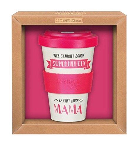 Grafik-Werkstatt Premium Becher mit Deckel |Kaffeebecher to go | 400 ml | Superhelden Mama
