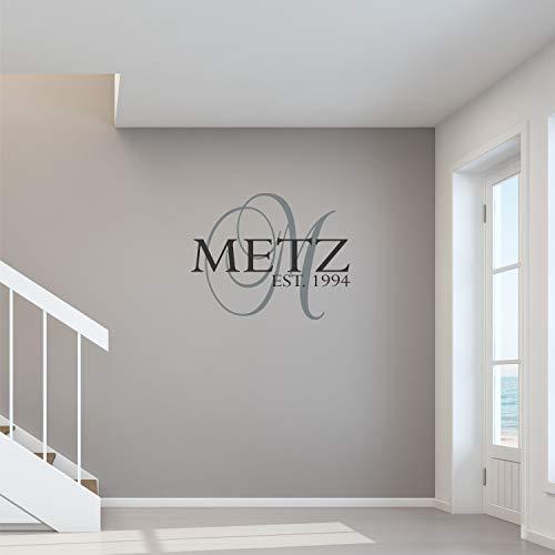 Aangepaste familienaam wandtattoo gepersonaliseerde naam muursticker aangepaste naam wandplaat monogram sjabloon naam en est-wanddecoratie
