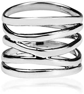 69 Sixty-Nine Punk Wide Five Band Coil Wrap 925 Silver Ring Wedding Engagement Jewelry Gifts (10)