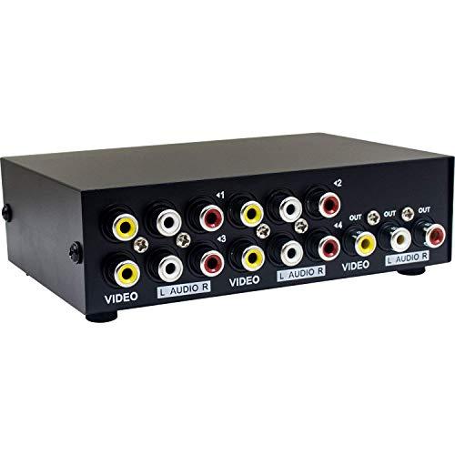 Duttek 4 Port AV-Schalter AV Schalter Cinch Umschalter 4 In 1 Out Composite Video L/R Audio Auswahlbox für DVD STB Spielkonsolen