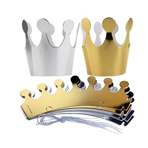 JZK 10 x Paper Crown Paper Hat Kids Princess Prince Crown Party Favors Party Decoration Accessories for Photo Booth Party Birthday Festivals(5 x Golden, 5 x Silver)