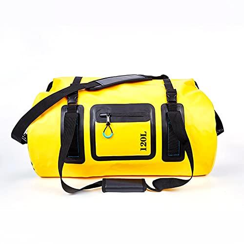 ZWRY Bolsa Deporte 50L 70L 120L Bolsa Seca Impermeable al Aire Libre Deportes acuáticos Mango Embalaje Playa Actividad de natación Camping Bolsa de Motocicleta Amarillo 120L