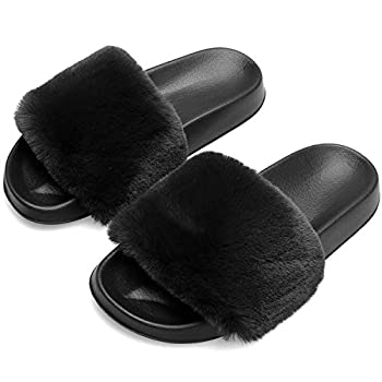 Furry Slippers for Womens Indoor Outdoor Open Toe House Casual Flat Fur Slides Sandals 8 Black