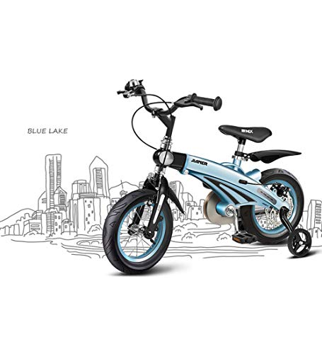 12/14/16 inches Kids' Bike, Children's Bicycle Lightweight Magnesium Alloy Retractable Frame Adjustable Seat Handle Height Rubber Pneumatic Tire Easy to Install Safety,Blue,12inches