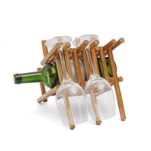 Jiamuxiangsi Cremagliera del Vino Wine Rack Rack Rattan Vino controsoffitto Design Standing Tavolo Calici Scaffale Memorizza Comfortably 1 Bottiglie e 3 Bicchieri di Vino Set Vino