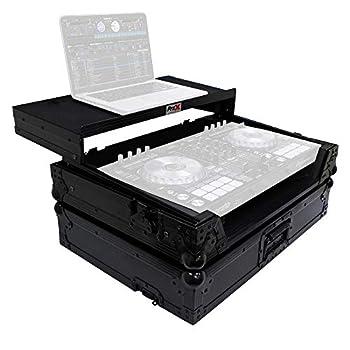 ProX Flight Case for Pioneer DDJ-SR2 Digital Controller With Laptop Shelf and Bonus LED Kit - Black on Black Design - XS-DDJSR2 LTBL LED