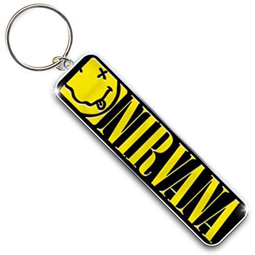 Tee Shack Nirvana Smiley and Logo Kurt Cobain Nevermind lizenzierter Schlüsselanhänger