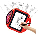 LEXIBOOK- Miraculous Proyector de Dibujo, 4 Sellos, 10 Plantillas, Pantalla Luminosa, 1 rotulador Incluido, Juguete artístico y Creativo, Rojo/Negro