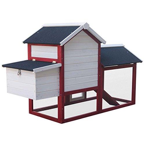 Hühnerstall Geflügel-Stall Hühnerhaus Hühner-Farm Hasenstall Kaninchenstall Kaninchen-Käfig Hasen-Käfig Kleintier-Stall Freilauf Kleintierkäfig Hühner-Stall 147x52x85cm - 6
