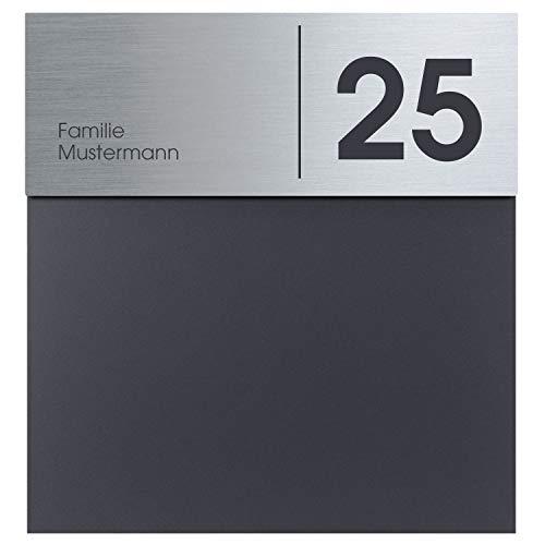 Briefkasten Edelstahl anthrazit MOCAVI Box 580Na, Postkasten mit Hausnummer und Name, modern, RAL 7016 matt, rostfrei, deutsche Qualität, groß, Din A4
