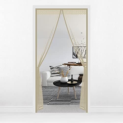 HALOVIE Zanzariera magnetica per porte e porte, 110 x 220 cm, tenda magnetica auto-chiudibile per la porta del balcone, la cantina, la terrazza e la zanzariera, senza fori, non accorciabile, beige