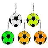 Haosell 10 ciondoli catarifrangenti con anello portachiavi a forma di pallone da calcio, riflettori di sicurezza per bambini, per zaini, giacche, zaini, ciclismo, passeggiate, corsa, passeggino