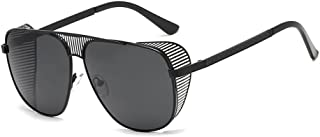 QWKLNRA - Gafas De Sol para Hombre Lente Negra con Montura Negra Gafas De Sol Retro Clásicas Hombres Gafas De Sol con Montura Metálica Uv400 Hombres Gafas De Sol para Hombre Punk Ciclismo Viajes PES