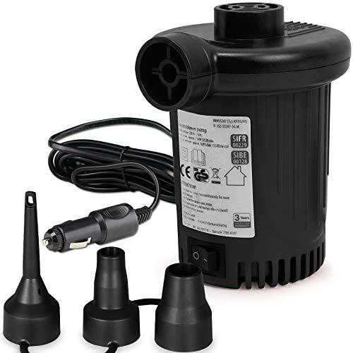 Monzana Deuba Elektrische Luftpumpe Elektropumpe inkl. 3 Aufsätze mit Kfz-Ladekabel Zum auf- und Abpumpen