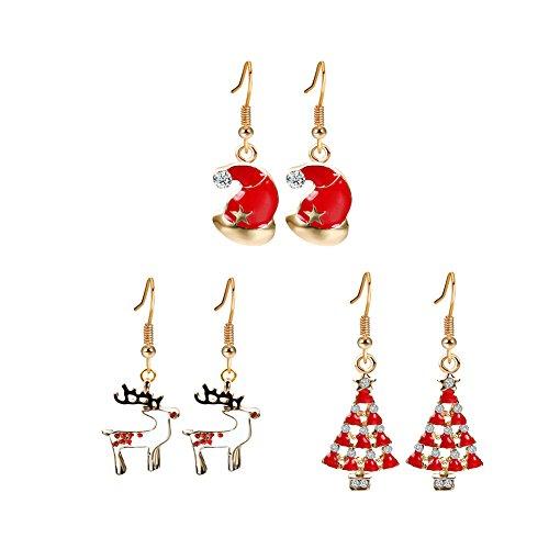 3 Paar Damen Weihnachts Ohrringe set Ohrhänger Weihnachtsschmuck Geschenk Weihnachtsmütze Elch Rot Weihnachtsbaum