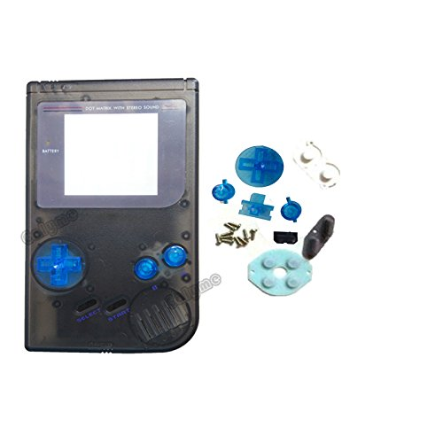 Clear Black Color Full Housing Cover Repairt Parts Fit DMG-001 GBO Case Gameboy GB Classic Game Shell with Rubber Pads (v1)