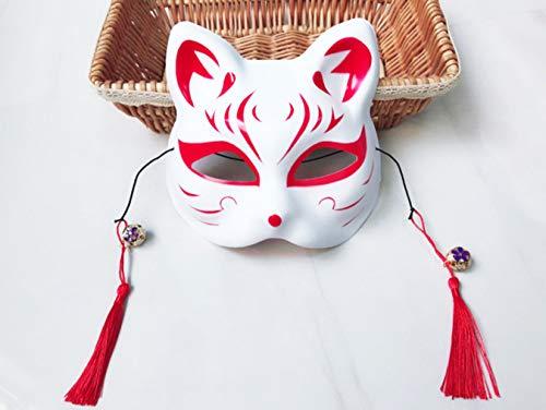 MINTIME Mascarilla de máscara hecha a mano, máscara de zorro tradicional, accesorios para fiestas de cumpleaños (rojo)