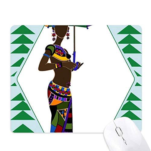 Afrikaanse Aboriginal Zwarte Vrouwen Jurken Muismat Groen Pijnboom Rubber Mat