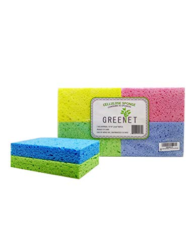 Greenet - Esponjas de limpieza de celulosa - Pack de 16 esponjas 100% naturales de cocina + 2 almohadillas de estropajo resistentes - Super duraderas, reutilizables y biodegradables