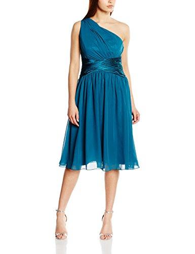 Astrapahl Damen Cocktail Kleid One Shoulder, Knielang, Einfarbig, Gr. 36, Türkis