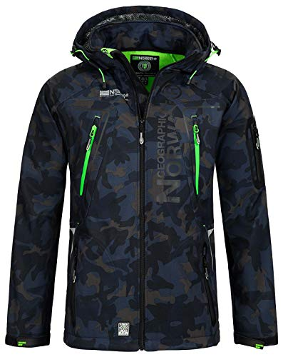 Geographical Norway Techno Softshelljacke Herren, Abnehmbare Kapuze Gr. Small, Marineblau/Grün.