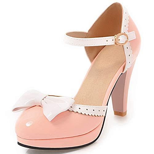 cynllio Damen Vintage Knöchelriemen Mary Jane Schuhe Niedliche Schleife Lolita Pumps Cosplay Kleid High Cone Heels, Pink - rose - Größe: 43 EU