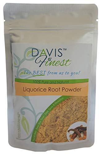 Davis Finest Premium Liquorice Root Poudre 100% Pure et Naturelle Masque Facial Nettoie et Ton Peau Laissant it Lisse Peau Naturelle Azurant Donne Tei