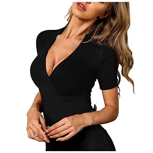 NPSJYQ Camiseta De Manga Corta Camisa De Mujer Color SóLido Cuello De Pico Sexy Verano Damas Casual Camisetas De Punto Diario Blusa Elegante Slim Fit Tops Elegante Personalidad Tops