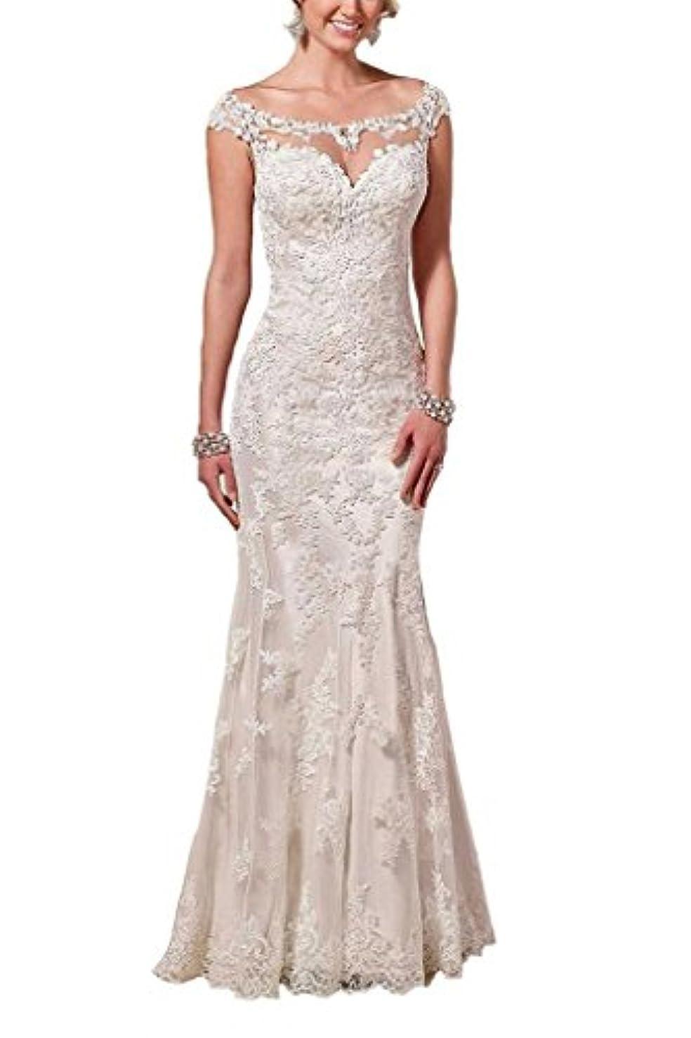 Firose Lace Wedding Dresses Satin Sheath Illusion Neckline Mermaid for Bride 2019