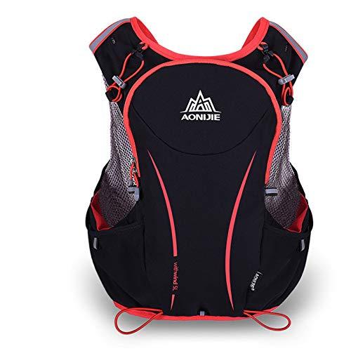 Mochila de nailon impermeable AONIJIE, de 5 L, para maratón, ciclismo, running, color negro, tamaño L-XL