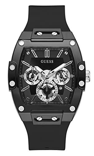 Guess Watches Phoenix Herren Uhr analog Quarzwerk mit Silikon Armband GW0203G3