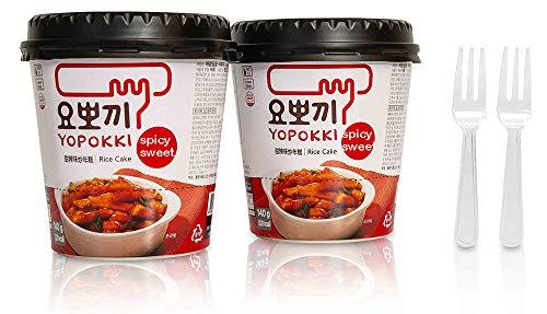 Tteokbokki Korean Rice Cake Instant (Cup of 2, Spicy & Sweet Sauce) Korean Snack Tteok Tteokbokki Rice Cake 떡볶이
