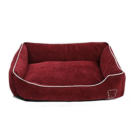 Cama para Perros de Felpa Suave y cálida Cama para Perros Cama para Dormir mullida sofá para Mascotas Perros pequeños y medianos de Varios tamaños -Granate_M-50 * 40 * 17