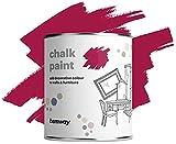 Hemway Matt Shabby Chic Tiza Pintura 1l Berry Pink Adecuado para muebles de interior, armarios empotrados, estantes, mesas y sillas, secado rápido Acabado de calcárea Toque suave