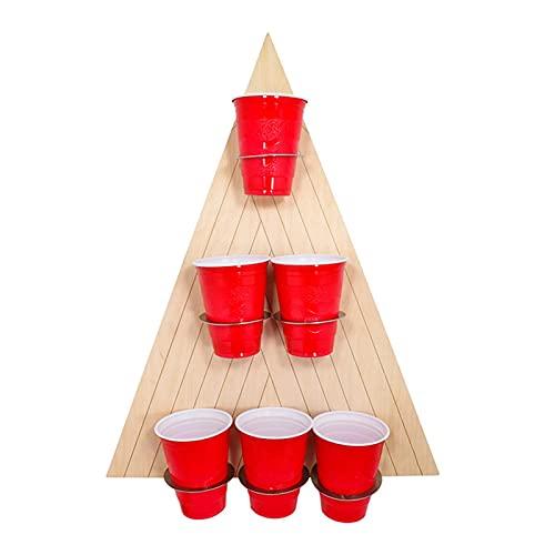 Juego De Juguetes Beer Pong, Juego De Tazas Verticales Para Colgar En La Pared Para Pong Con Estante Triangular Cerveza, Divertido Interactivo De Lanzamiento Para Familias, Niños, Adultos (6 Tazas)