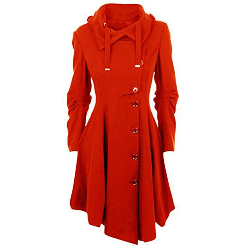 Janly Clearance Sale Abrigo para mujer, de lana sintética, cálido, delgado, abrigo grueso, para invierno, para Navidad, color rojo sandía, 5XL)