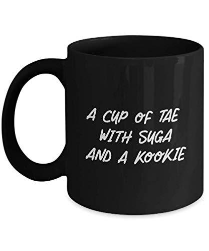 N\A BTS Black Mug Tae con Suga e kookie Bangtan Boy Army Gift Idea for k-Pop Fan Ceramic Coffee Cup