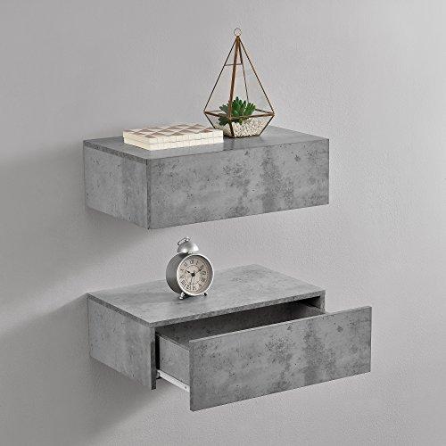 [en.casa] Wandregal mit Schublade 2er-Set Beton-Optik 46x30x15cm Wandschrank Nachtschrank