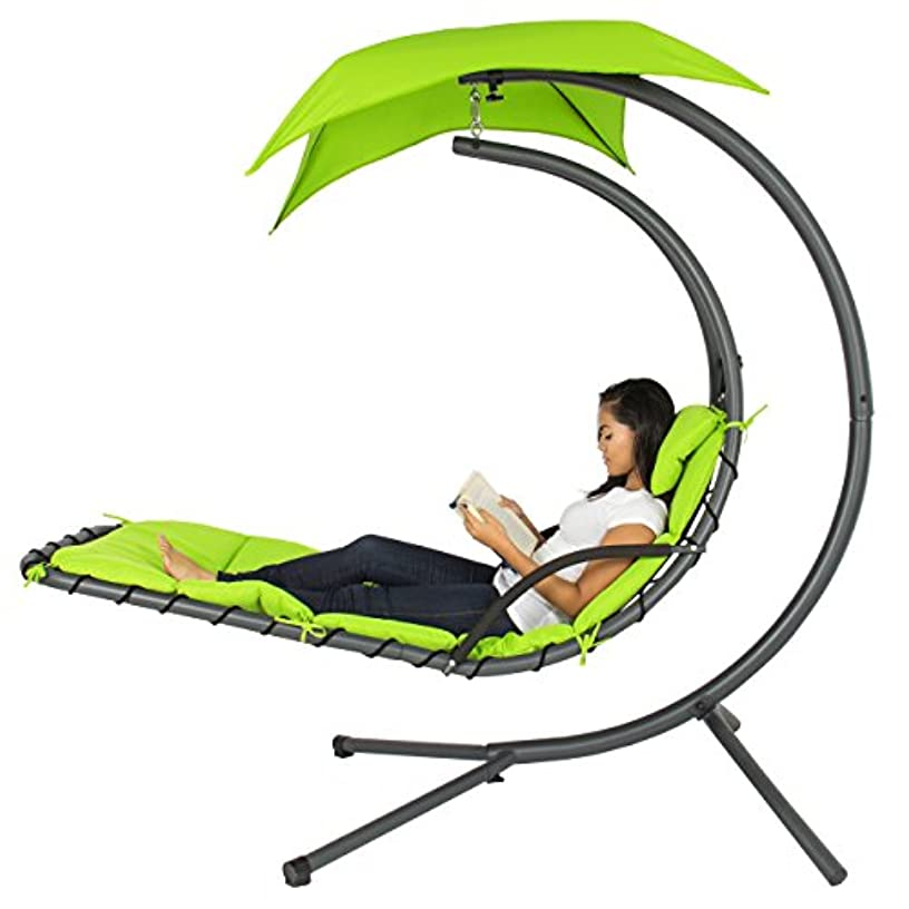 Best Choice Products Outdoor Hanging Curved Chaise Lounge Chair Swing for Backyard, Patio w/ Built-In Pillow, Removable Canopy, Stand - Green